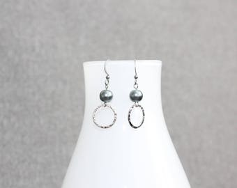 boucles d'oreilles argent, bijoux mode, Boucles d'oreille noires,earl earring,mode jewelry, earrings,gift, bal, perle, silver, round, cercle