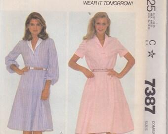 McCall's 7387 Misses' Dresses Sizes 8, 10, 12 Vintage UNCUT Pattern 1981 Easy Pattern
