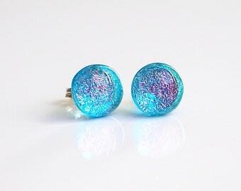 Turquoise Orange Stud Earrings - Fused Dichroic Glass Jewellery - Glass Earrings - Turquoise Earrings - Turquoise Earrings - ES 698