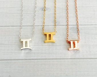 Gemini Zodiac Necklace - Gemini Zodiac Symbol Necklace - Gemini Zodiac Sign Necklace - Gemini Zodiac Jewelry