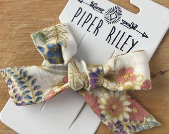 fabric hair bow, floral hair bow, girl bow, baby bow, flower hair bow, hand tied bow, sailor bow, school girl bow, hair bows for girls