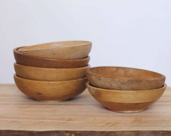 hold me -- 6 vintage rustic small wooden bowls