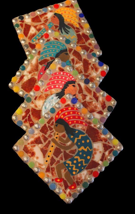 Southwestern Native American Kokopelli Mosaic Coasters--Set of 4