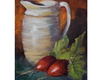 Small Still Life Original Oil Painting,Red Radishes And White HandThrown Pitcher,Oil Painting by Cheri Wollenberg