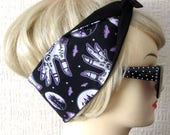 Haunted Castle Hair Tie Head Scarf Wrap by Dolly Cool Halloween Gypsy Hands Occult Self Designed Fabric