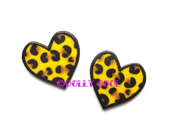 Heart Earrings in Leopard Print by Dolly Cool Rockabilly Rock and Roll