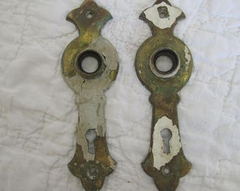 2 Vintage Brass Door Plates Great Salvage Pieces Shabby Finish