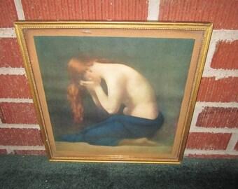 Vintage Poignant Framed Print of Weeping Woman