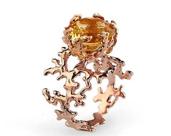 SALE 20% Off - CORAL Citrine Engagement Ring, 14k Rose Gold Citrine Ring, Unique Rose Gold Ring, Large Yellow Citrine Ring, Statement Ring