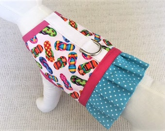 Flip Flop Dog Harness Vest With Ruffle Skirt