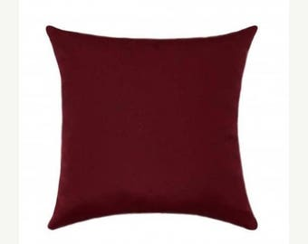 Red Sunbrella Throw Pillow, Red Outdoor Pillow, Sunbrella Canvas Burgundy Outdoor Pillow, Solid Burgundy Deck Pillow, Burgundy Red Cushion