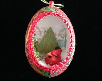 Cardinal Christmas Real Egg Ornament
