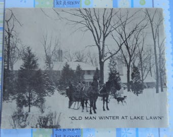 Photo Christmas Card Circa 1940s Lake Lawn Delavan Lake Wisconsin Old Man Winter Card with Horse Drawn Sleigh