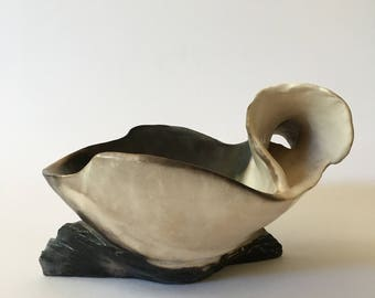 Smoke fired sculptural bowl