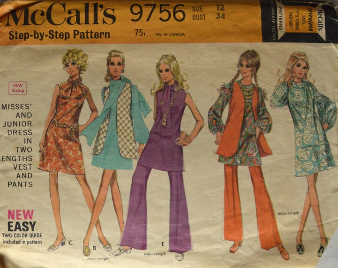 "1960s McCalls Dress, Vest and One-Piece Dress Pattern, Vest and Pants, Bell Bottoms Pattern, Mini Dress Pattern,Bust 34"" - No. 9756"