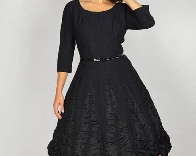 sale Vintage 50s Dress, Black Cocktail Dress, Swing Dress, Party Dress, Fancy Dress, Dancing Dress, Ruched Skirt, Circle Skirt Dress, 1950s