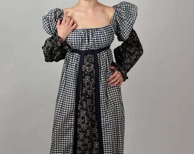 sale Boho Dress,Maxi Dress, 70s Dress, Long Dress, Folk Dress, Off the Shoulder, Hippie Dress, Peasant Dress, Gingham Dress, Cotton Dress,