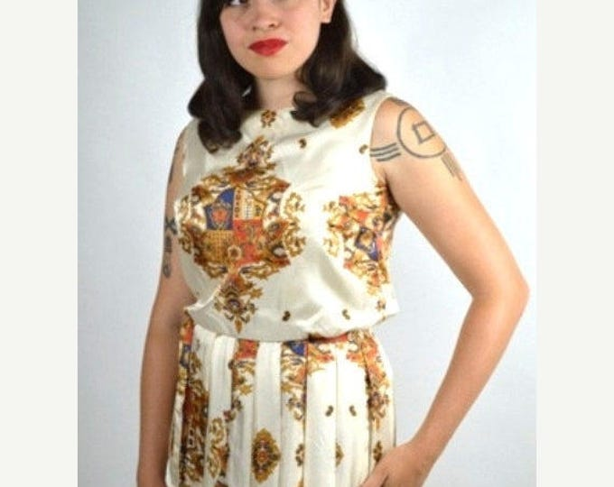 sale Vintage Dress,  European Crest Print, Pleated Dress, Sleeveless Dress, 50s Dress, Retro Dress, 1950s Dress, Rockabilly Dress, Day Dress