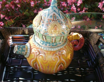 Teapot Handmade Vintage Ceramic Decor