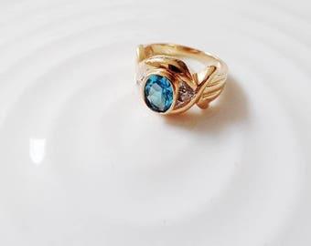 Blue Topaz Diamond 14K Gold Vintage Ring Estate Fine Jewelry