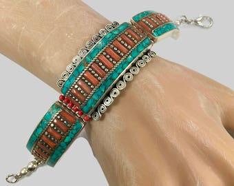 Turquoise Bracelet,Tibetan Silver, Coral Inlay, Nepal Jewelry, Vintage Bracelet, Boho Bohemian, Tribal Ethnic, Gypsy Hippie, Tibet Nepal