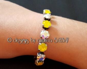 Crystal Bracelet - Crystal AB & Yellow Opal Swarovski Crystals - 8 mm stone size