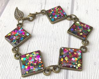 Rainbow Confetti Bracelet, Rainbow Gift, Rainbow Jewellery, Pride Bracelet, Confetti Jewellery, Multicoloured Jewellery, Gift for Bridesmaid