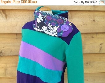 20% SALE Hoodie Sweatshirt Sweater Handmade Recycled Upcycled One of a Kind CAT LADY Ladies Large - Crazy Cat Lady Teal Purple Kittys Pocket