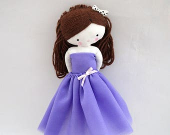 Ballerina rag doll - plush toy cloth art doll ballerina in purple tutu dancer ballet ooak Made to order