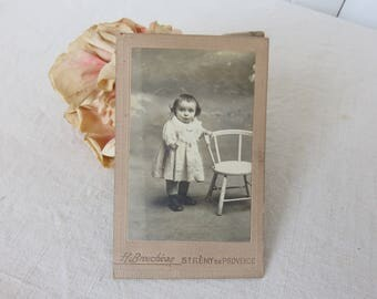 Sweet Little Vintage French Photograph, Original Photo of Little Girl and Chair, Vintage Home Decor, Vintage Picture Display