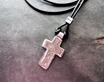Artisan Jewelry, Silver Cross Necklace, Religious Jewelry, Celtic Cross Replica, Leather Necklace, Rustic Handcrafted, Silver Necklace