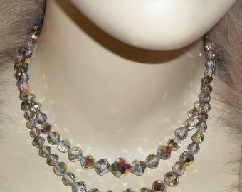 SUMMER SALE Vintage AB Aurora Borealis 2 Strand Necklace Crystal Sparkly