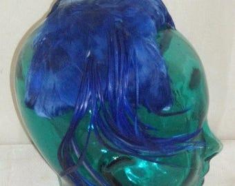 ON SALE Vintage Royal Blue Feather Fascinator Cap Hat Flapper Costume