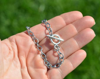 1 Stainless Steel Charm Bracelet with Toggle Clasp C806