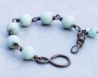 Amazonite Bracelet | Rustic Copper Bracelet | Beaded Bracelet | Chunky Stone Bracelet | Blue Stone Bracelet | Wire Wrapped Gemstone Jewelry