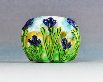Handmade Lampwork Focal Bead Dark Purple Floral SRA by HallockGlass
