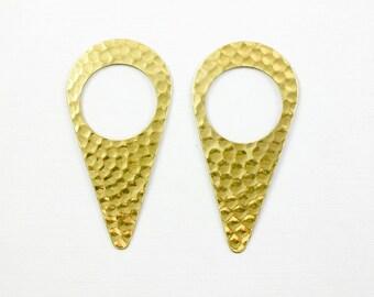 4 hammered TEARDROP geometric jewelry pendant or earring drops. 21mm x 52mm (T11). Please read description