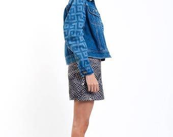 40% OFF CLEARANCE SALE The Vintage Lee Aztec Ikat Print Customized Sleeve Jean Jacket