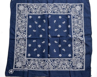 40% OFF The Vintage Navy Paisley Cotton Bandana Hankerchief Scarf