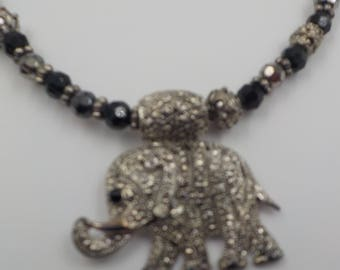 Beautiful Elephant Pendant Beaded Necklace - Faceted Beads - Rhinestones - Metal Beadwork - Silvertone - 15 inch