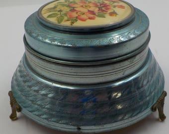 Vintage Sprague Music Box -Footed -  Robin Blue- Florals - La Traviata tune - Powder Box - Trinket Box - Music Box Great Condition