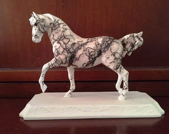 Horse Hair Pottery  horse, w/oval base,  & engraved name plate-hand painted to look like your horse Pet Memorial