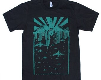 SUMMER SALE Wasp City Teal - Punk rock apocalyptic cityscape - Black T Shirt - Available in Xs, S, M, L and Xl