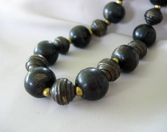 Horn Beads Necklace, Brown Black, Patinaed Brass, Spiral Beads, Primitive, Tribal, Long Length, No clasp, Vintage 1970s