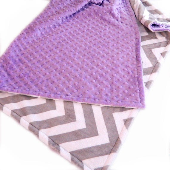 Minky Blanket Girl, Lilac Gray Chevron Personalized Blanket, 48 x 60, Toddler Blanket, Minky Throw Blanket, Gift For Her, Personalized Baby