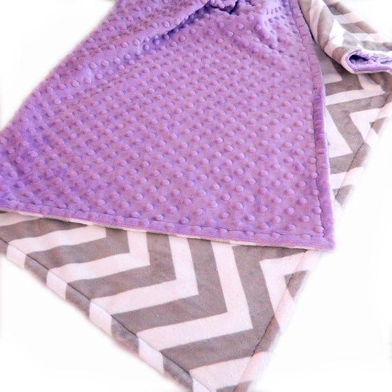 48 x 60 Minky Blanket Girl, Lilac Silver Gray Chevron Personalized Baby Blanket - Toddler Blanket // Minky Throw / Custom Bl