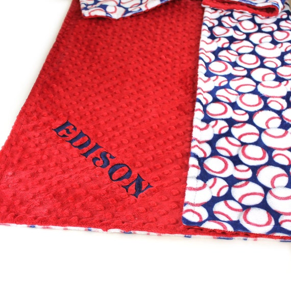 Adult Minky Throw Blanket, Red Blue Baseball Blanket, Personalized Blanket, Baseball Throw Blanket, Twin Blanket, Personalized Gift