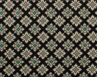 Caravan Diamond Foulard Black Mosaic Fabric By The Yard By Benartex- Taupe, Turquoise & cream on Black