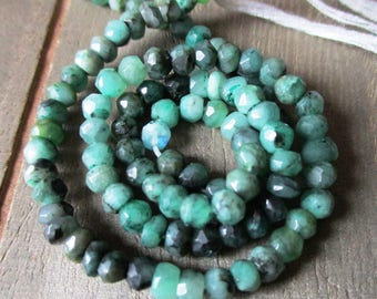 Natural Emerald faceted rondelle- 4mm- 6.5 inch