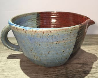 Ceramic Batter Bowl - Mixing Bowl -Kitchen Prep Bowl in Weathered Blue and Burnt Red  IN STOCK Ready to Ship
